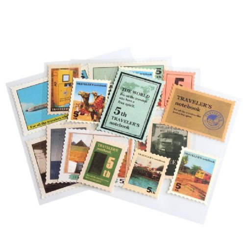 "1 Packet Paper Vintage Post Stamps Sticker 10 cm x 10 cm(3 7/8"" x3 7/8"")"
